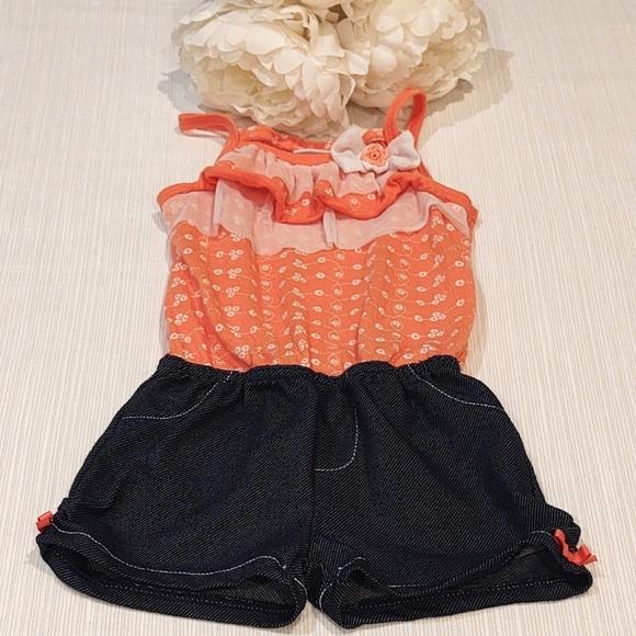 Little Lass Jean Shorts Romper 3T